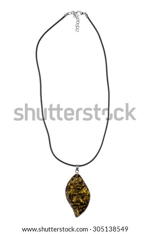 Stone pendant on a lace isolated on white background - stock photo