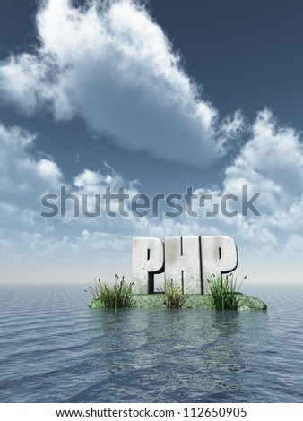stone php tag at water - 3d illustration