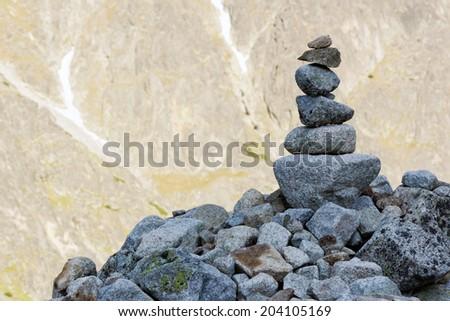 stone pile in mountains - stock photo