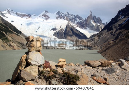Stone piramid and lake in mountain near El Chalten, Argentina