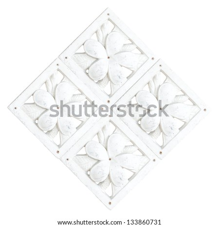 Stone Plumeria craft art design for spa isolated on white background - stock photo