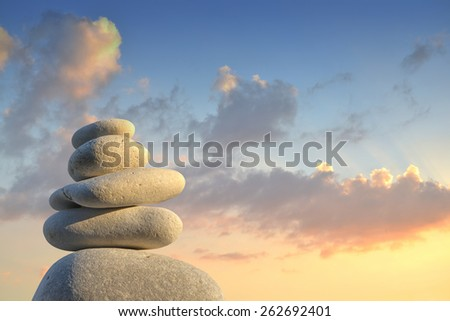 Stone pyramid in the afterglow - stock photo