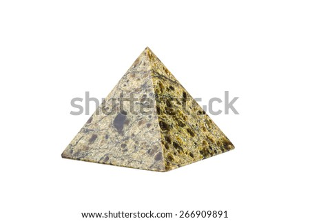 Stone pyramide is isolated on a white background.