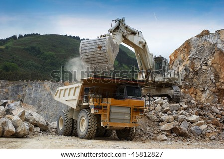 stone quarry in northern Spain - stock photo