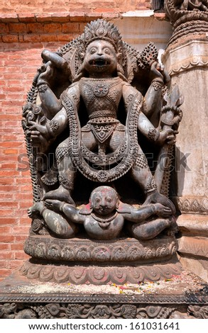 Stone relief, sculpture of Shiva the destroyer in Patan's Durbar square. Kathmandu, Nepal - stock photo