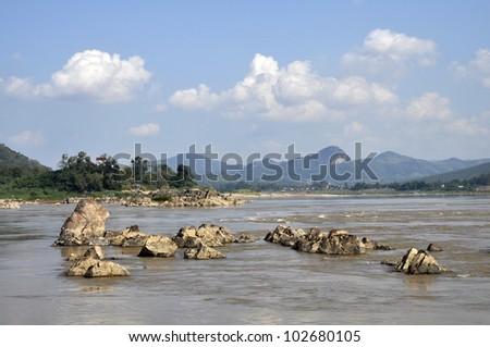 Stone Rock River Nature Outdoor Mountain - stock photo