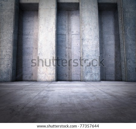 stone room with columns - stock photo