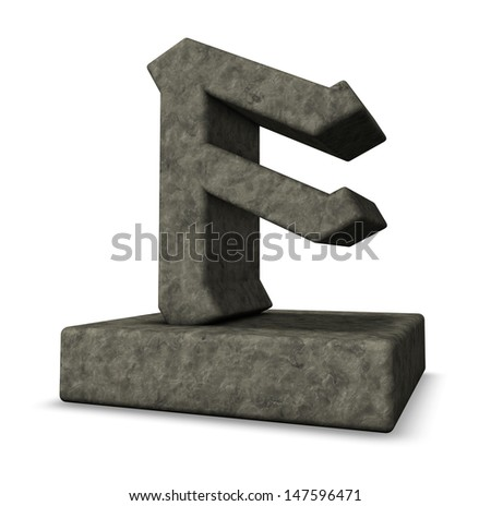 stone rune on white background - 3d illustration