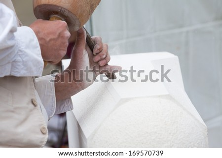 stone sculptor - stock photo