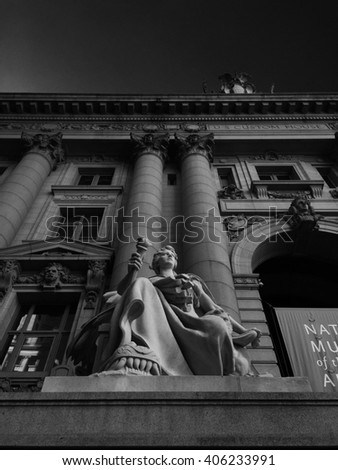 Stone sculpture in front of the US Customs house, Lower Manhattan, NYC