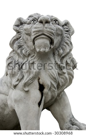 Stone sculpture of a big lion isolated on white - stock photo
