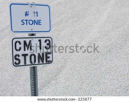 stone sign and stone - stock photo