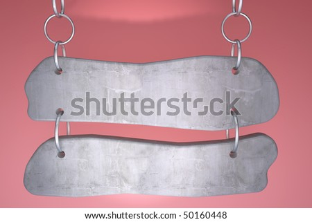 Stone signboard hanging on chrome chains - stock photo