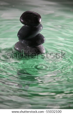 stone  stack up at the river - stock photo