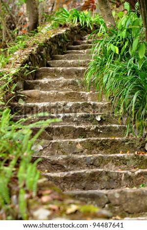 stone stair outdoor - stock photo