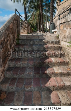 Stone staircase from medieval times. Details Palma, Palma de Mallorca, Balearic islands, Spain in November. - stock photo
