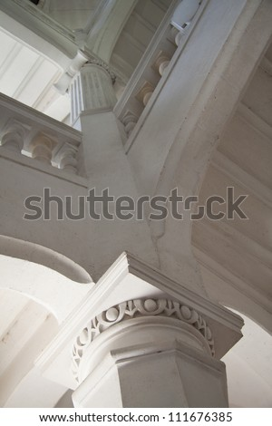 Stone staircase in a big old building - stock photo