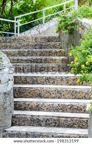 stone stairs  at the garden flower - stock photo