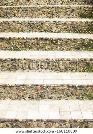 stone stairs in garden - stock photo