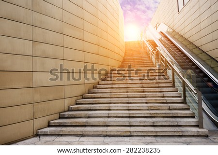 Stone stairs  in the morning - stock photo