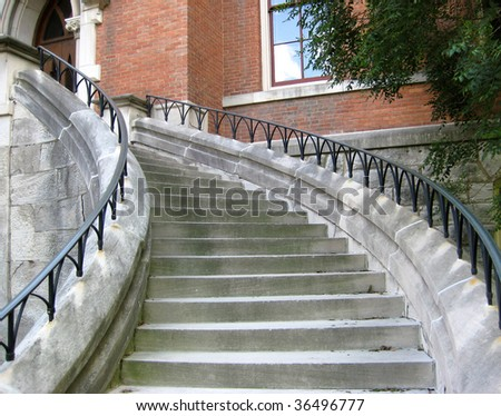 Stone stairway at Vanderbilt University, Nashville, Tennessee - stock photo