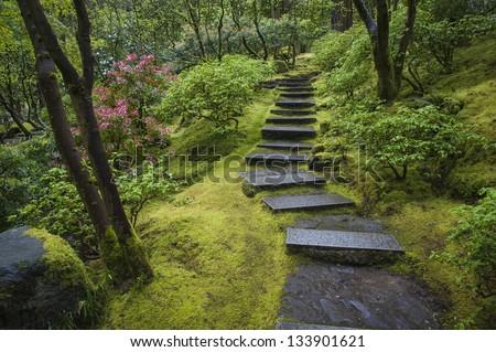 Stone stairway in a Japanese garden - stock photo