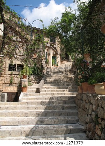 Stone stairway in a village in Mallorca, Spain