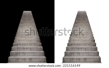 stone stairway isolated on black and white background - stock photo