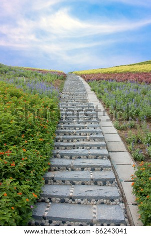 Stone stairway with flowers and blue sky, at shenzhen, china - stock photo