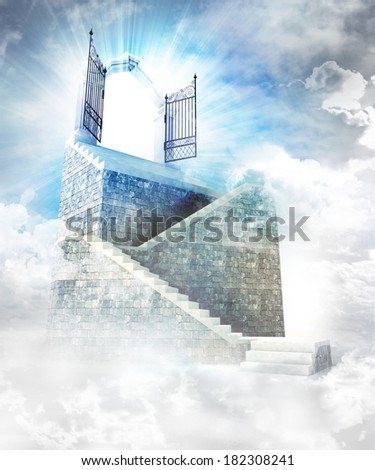 stone stairway  with gate entrance on top illustration - stock photo