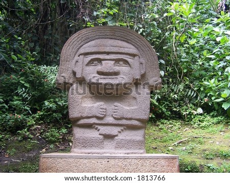 Stone statue in San Augustin. Colombia - stock photo