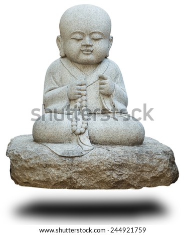 Stone statue of buddhist monk on white with clipping path  - stock photo
