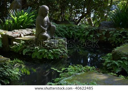 Stone statues at Hasedera temple in Kamakura, Japan - stock photo