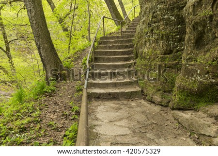 Stone Step Trail In The Woods - stock photo