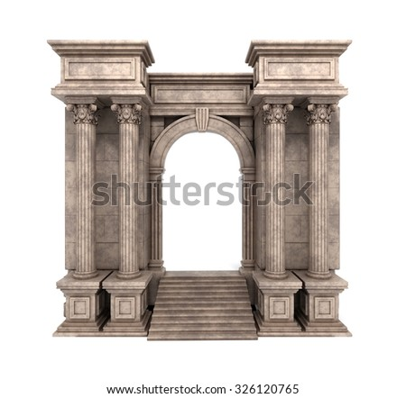Stone Steps And Entry Way With Corinthian Columns. 3d render. - stock photo