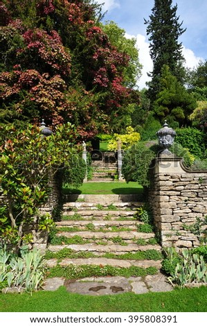 Stone Steps in a Beautiful English Landscape Garden - stock photo