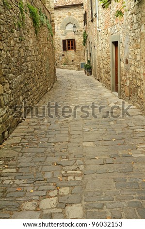 stone street in picturesque  borgo Montefioralle, Greve in Chianti,Tuscany, Italy - stock photo