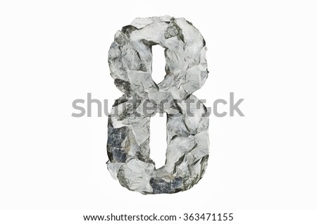Stone texture in the shape of number 8, isolated on white background