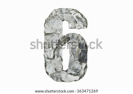Stone texture in the shape of number 6, isolated on white background