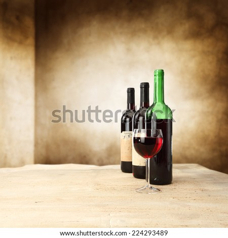 stone top and wine  - stock photo