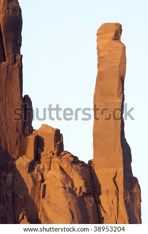 Stone tower in Monument Valley, Navajo Tribal Park, Utah, Usa