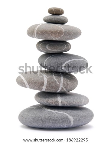 stone tower isolated on white (series) - stock photo