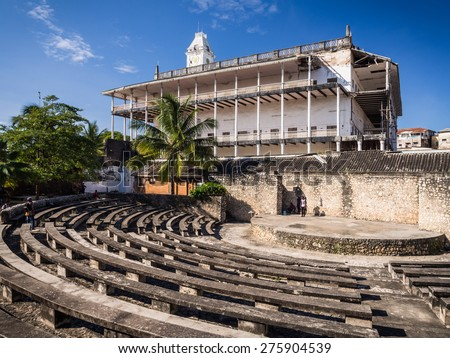 STONE TOWN, ZANZIBAR - MAY 02, 2015: The stage and theatre in the Old Fort (Ngome Kongwe) also known as the Arab Fort and the House of Wonders in Stone Town on Zanzibar island, Tanzania, East Africa - stock photo
