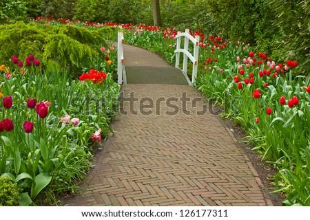 Stone walk way  in garden - stock photo