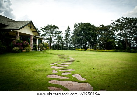 Stone walking in the grass - stock photo