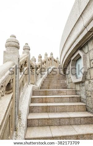 Stone walkway around big buddha hong kong - stock photo