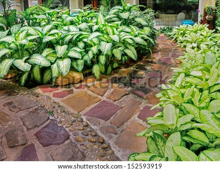 Stone walkway in the Garden - stock photo
