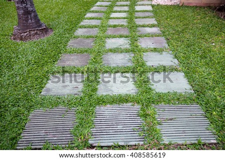 Stone walkway in the garden, Walkway in park. - stock photo