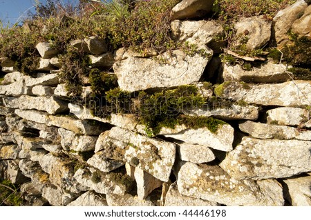 Stone wall, Anthon, Beaujolais, France