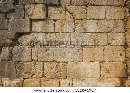stone wall at Nimrod Fortress Ruins overlooking Golan galilee and banias  - stock photo